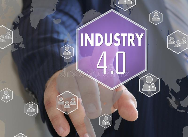 Button industry 4.0 on the touch screen. The businessman clicked the button industry 4.0 on the touch screen, 40, audit, automation, background, big, data stock photos