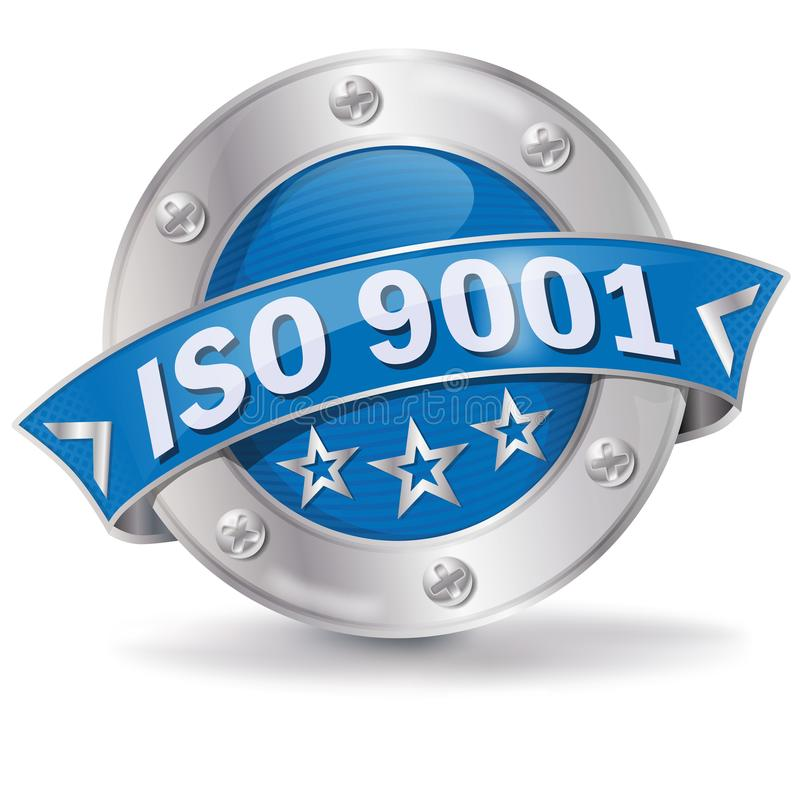 Button ISO 9001 vector illustration