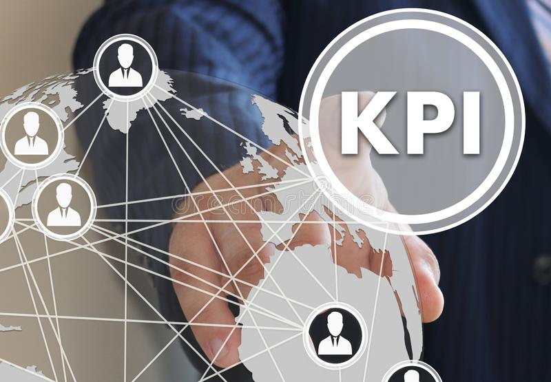 button KPI, Key Performance Indicator on the touch screen in the global network stock image