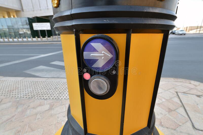 Button of manual control of the traffic light in Doha, Qatar. Button of manual control of traffic light in Doha, Qatar royalty free stock image