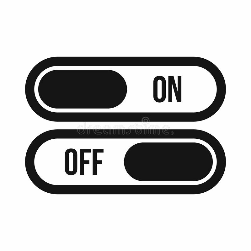 Button on and off icon, simple style royalty free illustration