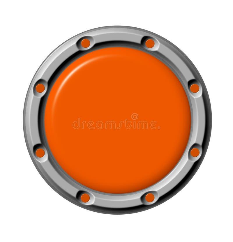 Button orange. The orange button in a metal frame royalty free illustration