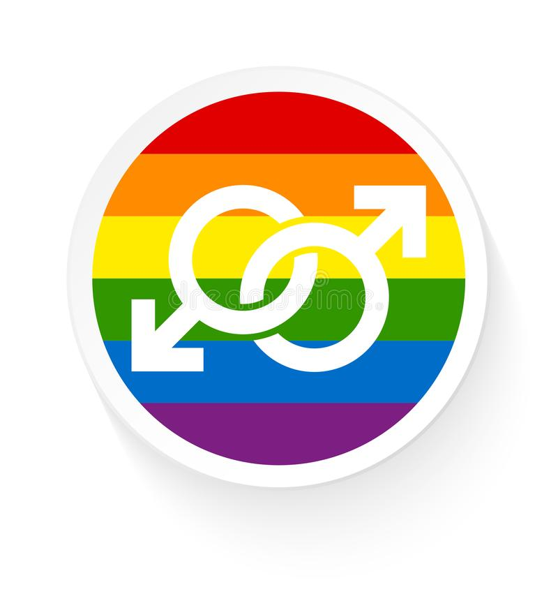 Button Rainbow Flag Two Connected Male Gay Icons stock illustration