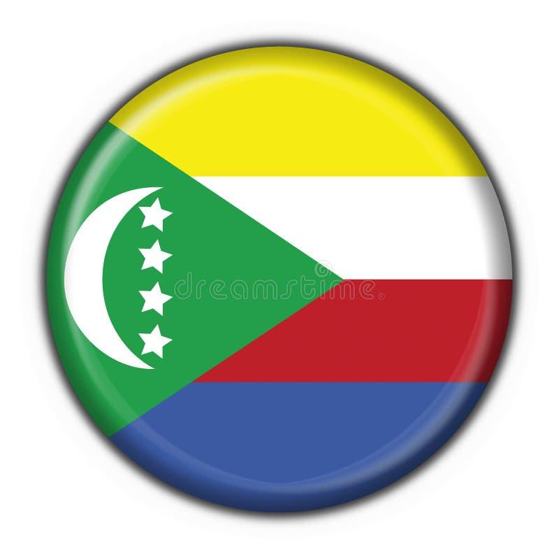 button rund form för den comoros flaggan vektor illustrationer