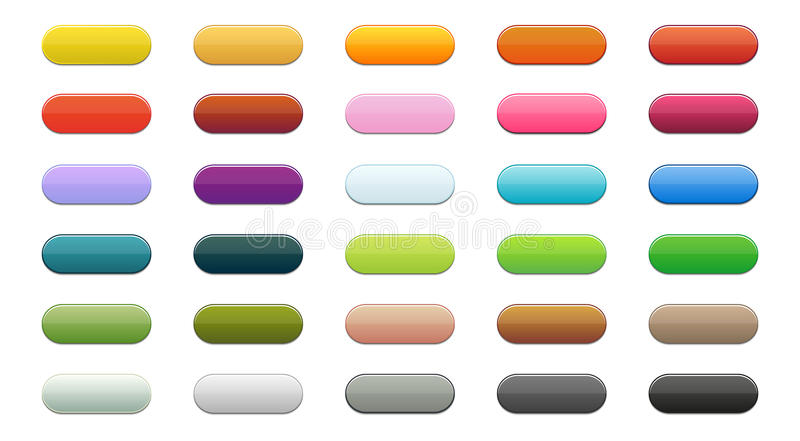 Button set. Set of 30 buttons in different colors with ligh shadow royalty free stock photography