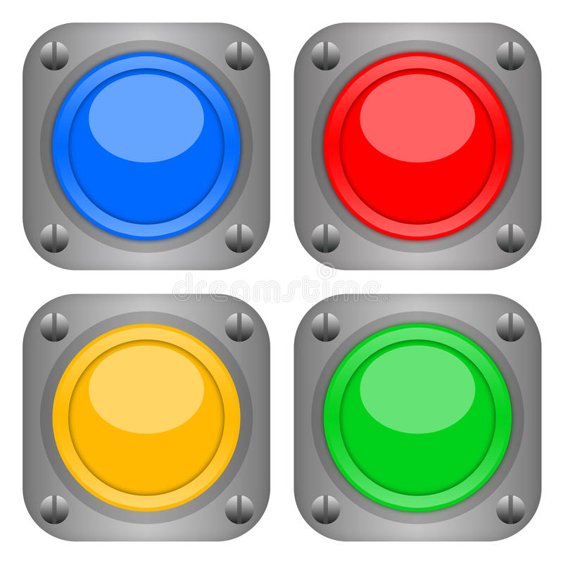 Button set. Colorful durable metallic technical buttons isolated on white background stock illustration