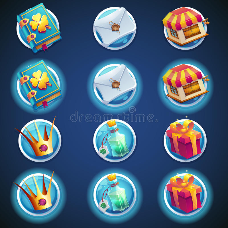 Button set of icons for web video games vector illustration