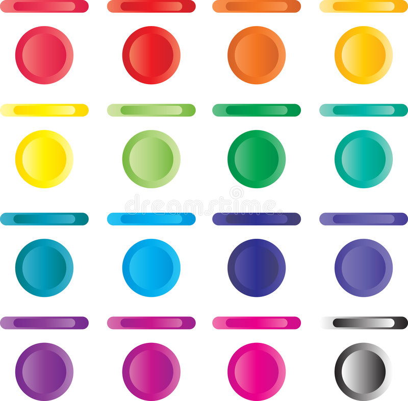 Free Button, Set Of Light Buttons Of Red, Blue, Green.. Stock Photos - 8423513