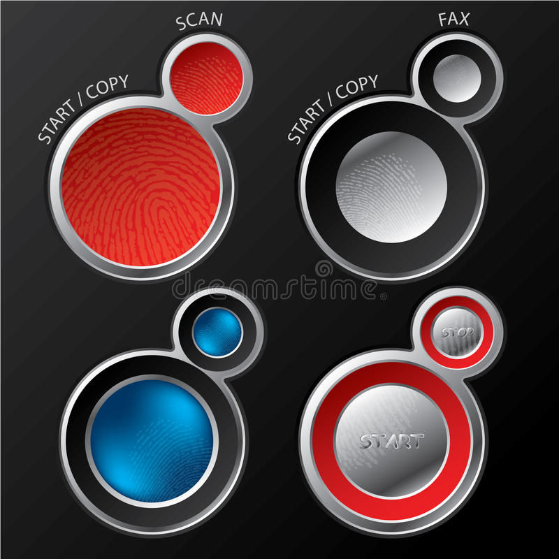 Button sets for scanners/copiers royalty free illustration