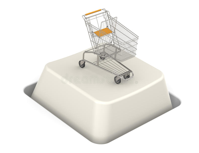Button with Shopping Cart. Steel Trolley stock illustration