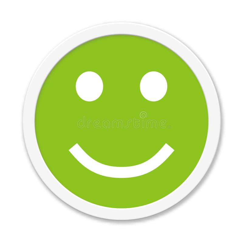 Button showing positive mood rating or feedback. Isolated round green Button showing positive mood or feedback stock illustration