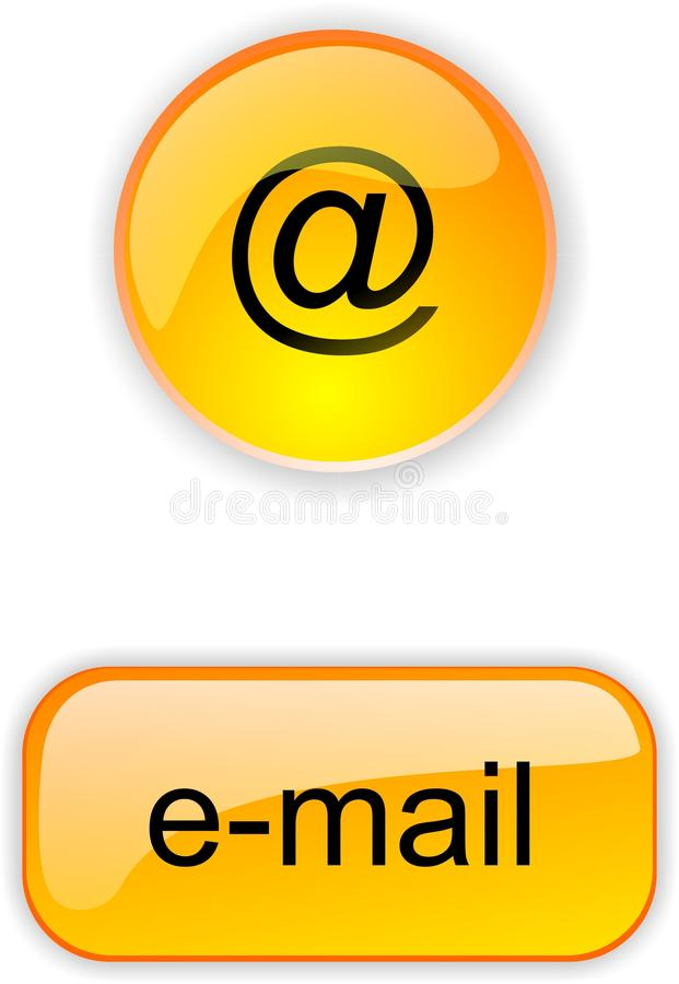 Button for site or internet. Crystal yellow round and square button for web site or internet with icon e-mail vector illustration