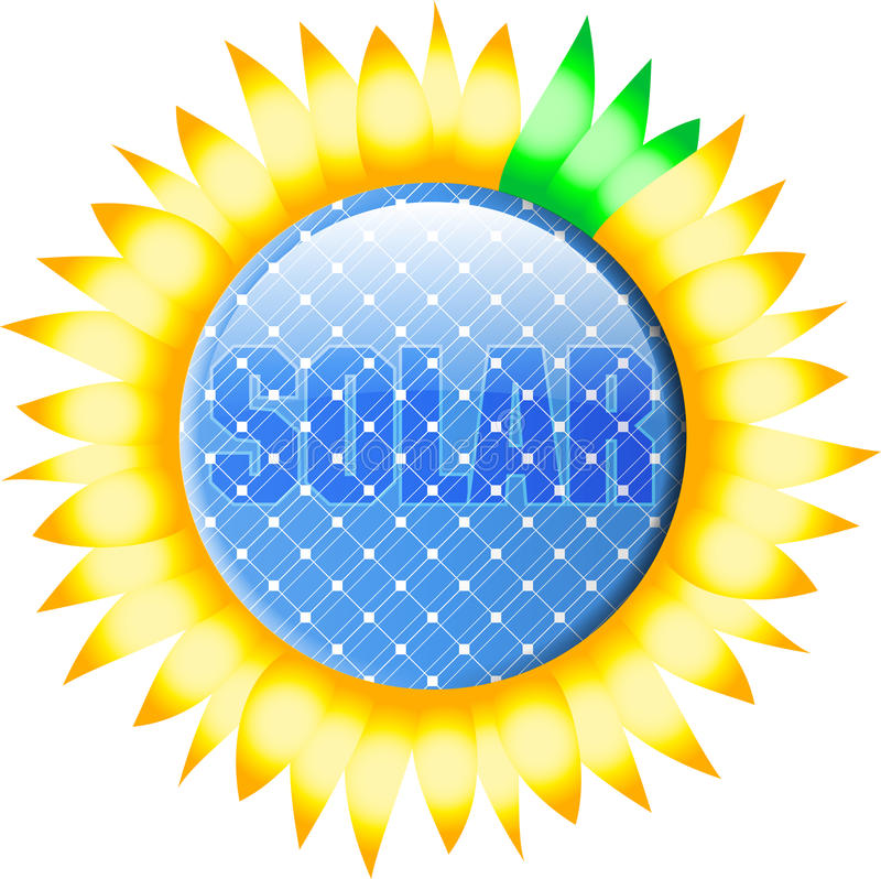 Button_solar_sunflower stock abbildung