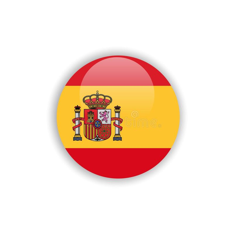 Button Spain Flag Vector Template Design stock illustration