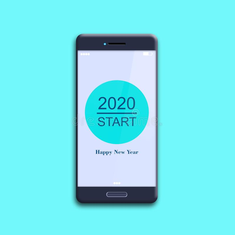 Button, 2020 start, on a mobile phone. Isolated on a blue background. The concept of the beginning of the New Year. royalty free stock photos