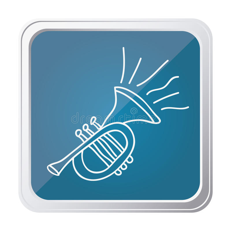 button of trumpet with background blue and hand drawn stock illustration