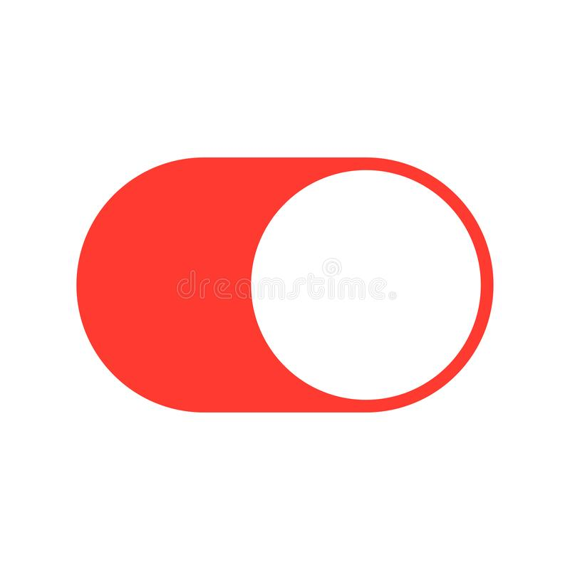 Button for turning on and off color stock illustration