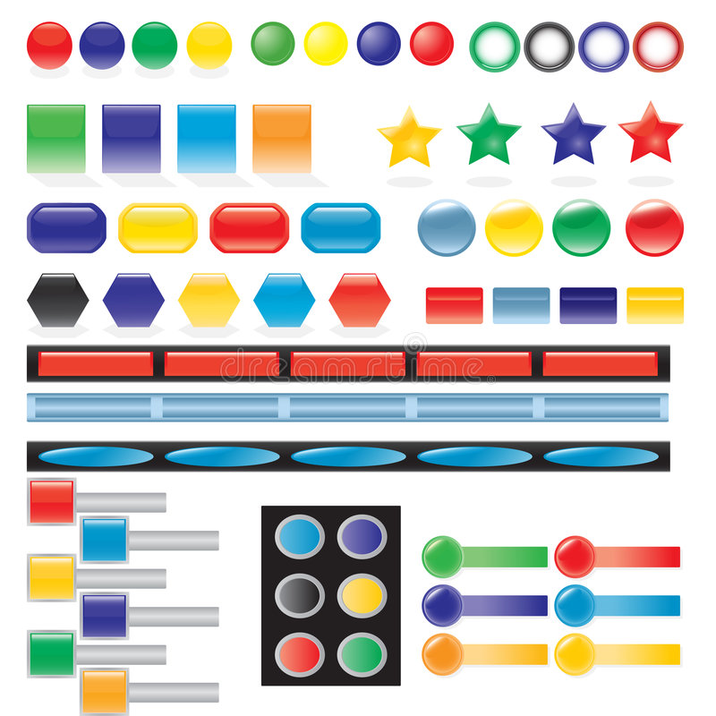 Button vector. Vector illustration of useful objects, buttons elements stock illustration