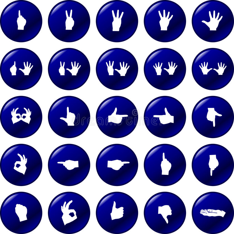 button vektorn för set symboler för händer stock illustrationer
