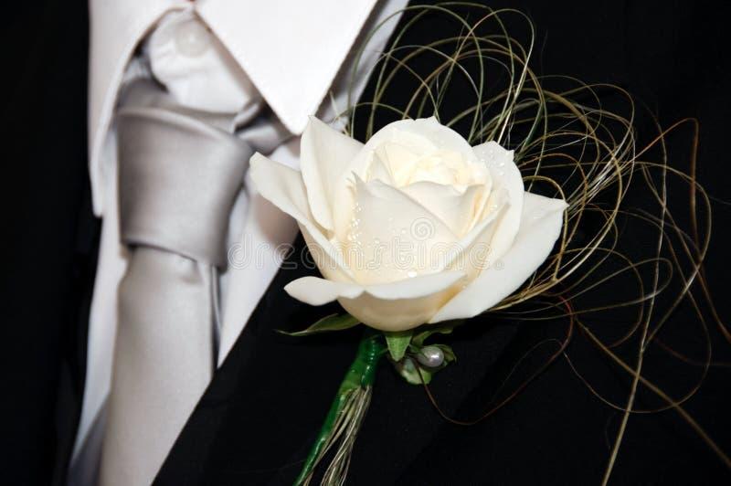 buttonhole róży biel zdjęcie royalty free