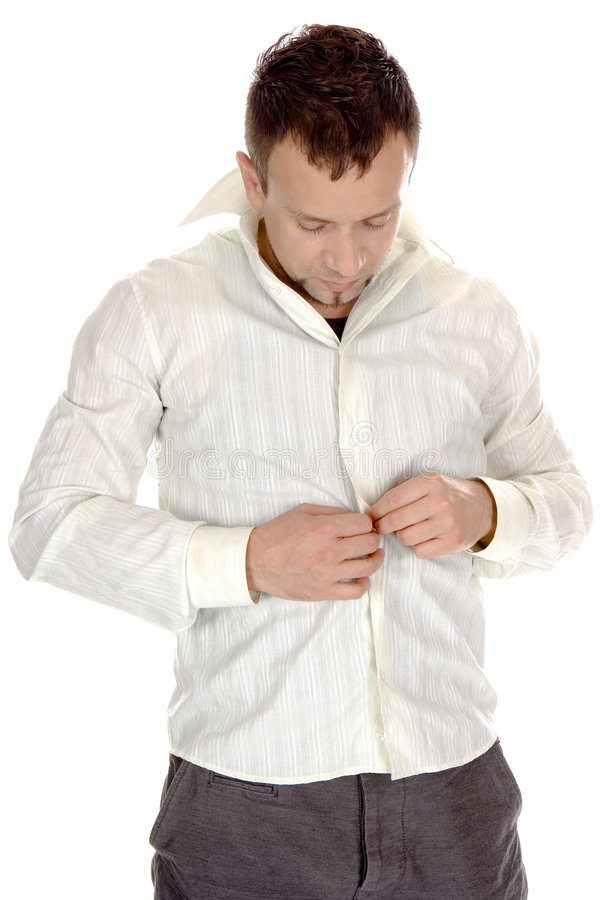 Download Buttoning-up  white shirt stock photo. Image of attractive - 5222668