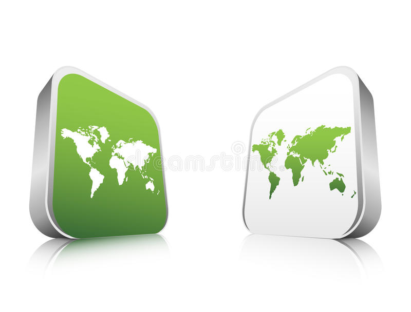 Buttons. Vector illustration of buttons with world map royalty free illustration