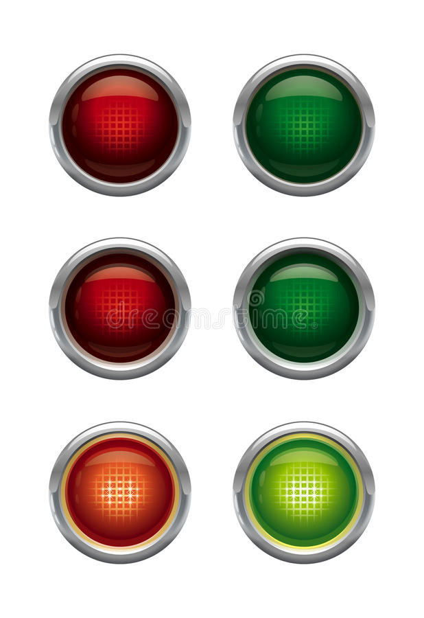 Buttons - 2 colors, 3 positions. royalty free stock photos