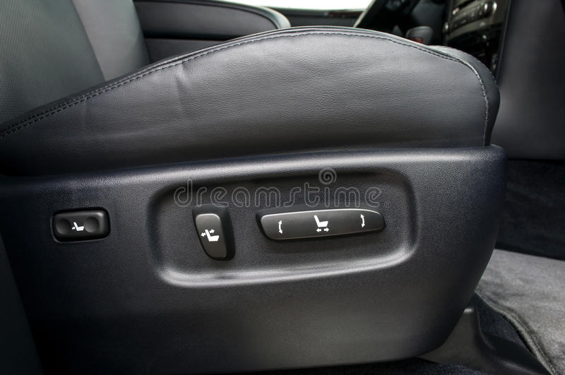 Buttons for adjusting seat position. Car interior royalty free stock image