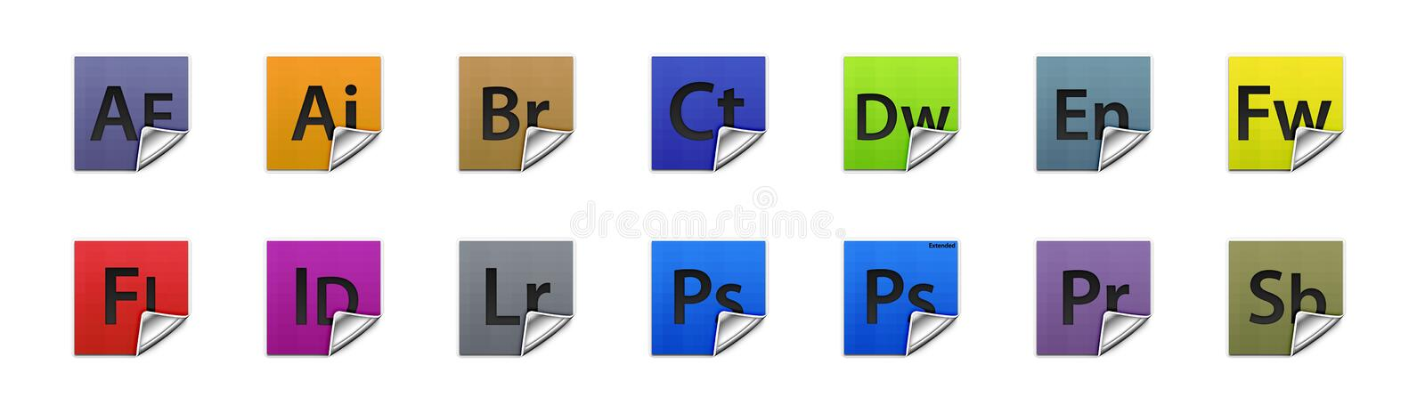Buttons Adobe products vector illustration