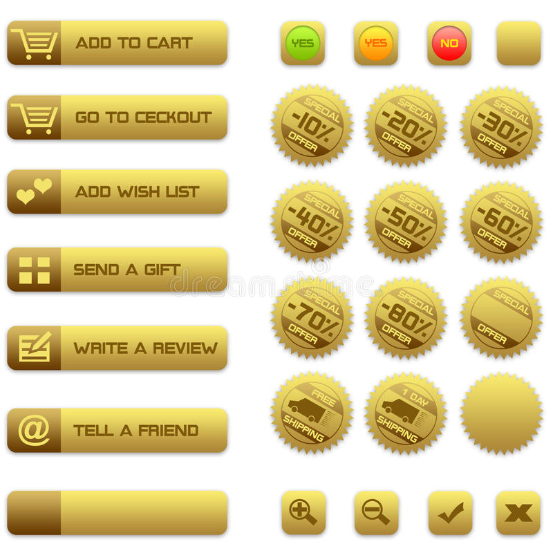 Buttons and badges for e-commerce stock photography
