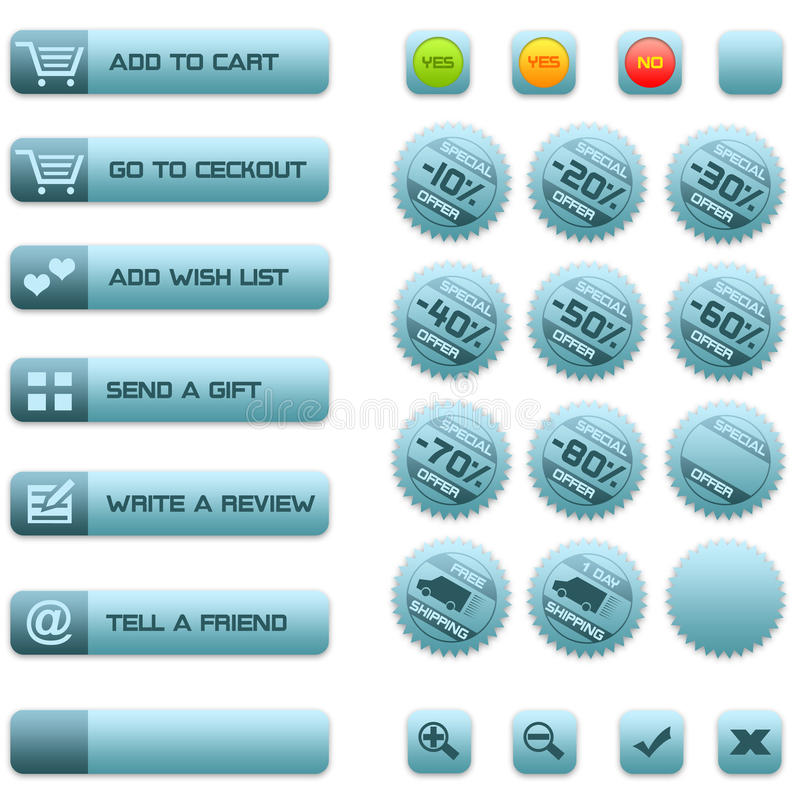 Buttons and badges for e-commerce royalty free stock photos