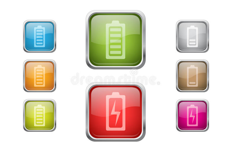 Download Buttons With Battery Sign Icons Stock Illustration - Illustration of button, level: 24529869