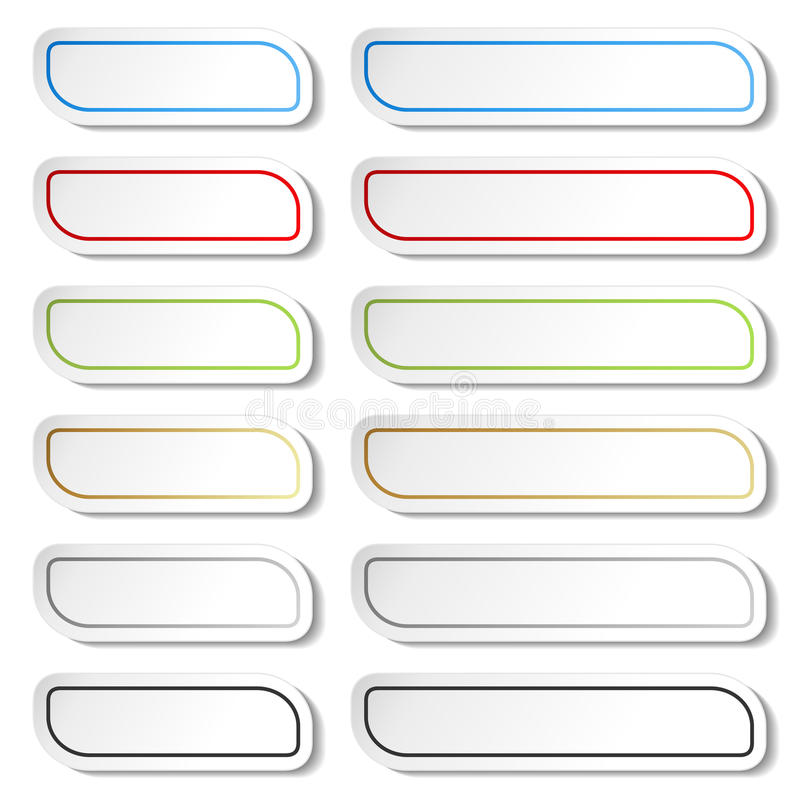 Buttons. Black, green, blue, golden, grey and red lines on white simple stickers, rectangle with rounded corners. stock illustration