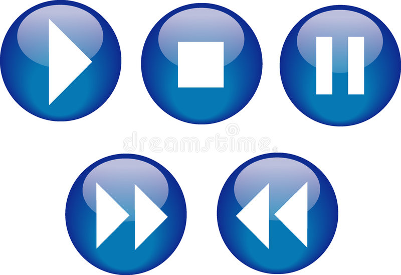 Buttons CD Player Blue stock images