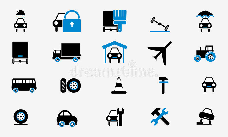 Buttons Collection Cars Icons Internet Web Stock Vector