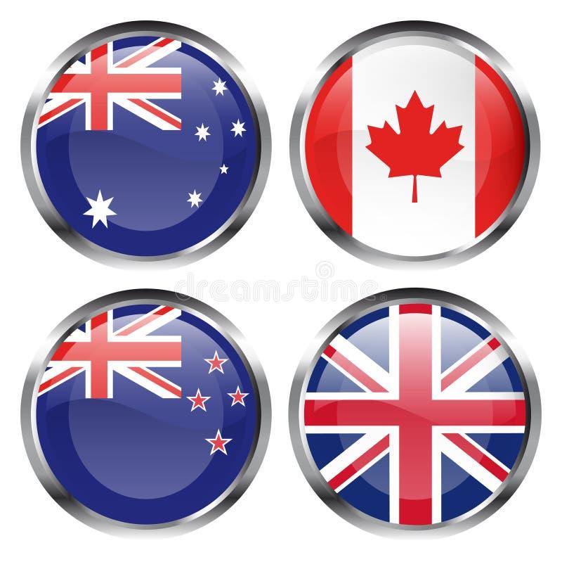 buttons commonwealthflaggan royaltyfri illustrationer