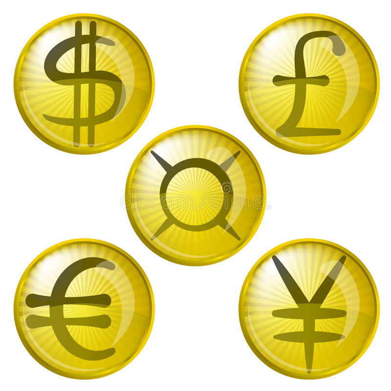 Buttons With Currency Signs Royalty Free Stock Photos