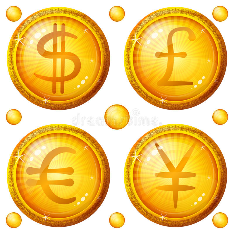 Buttons With Currency Signs, Set Royalty Free Stock Images