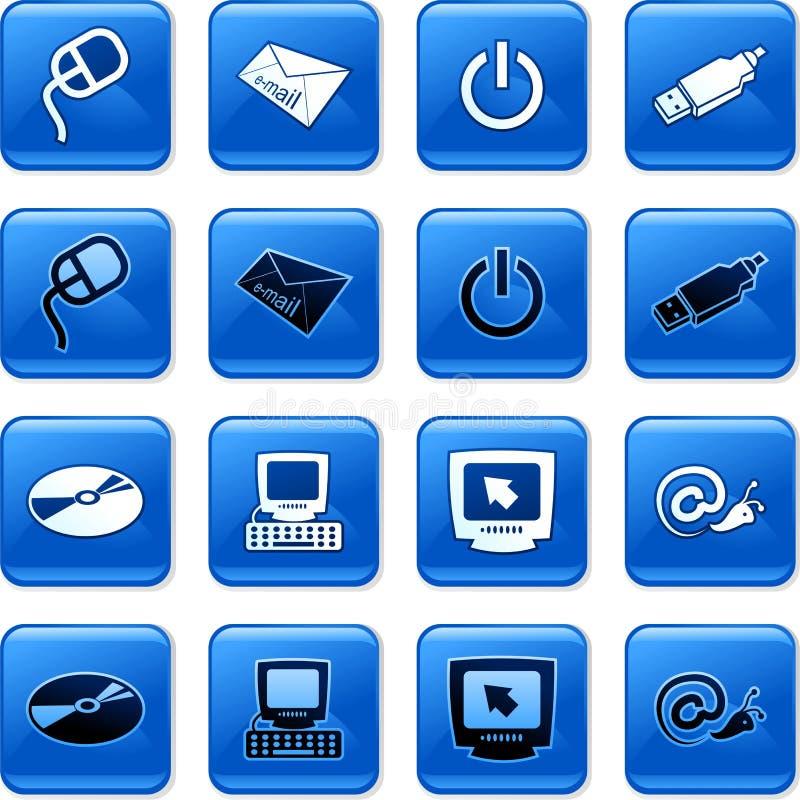 buttons datoren royaltyfri illustrationer