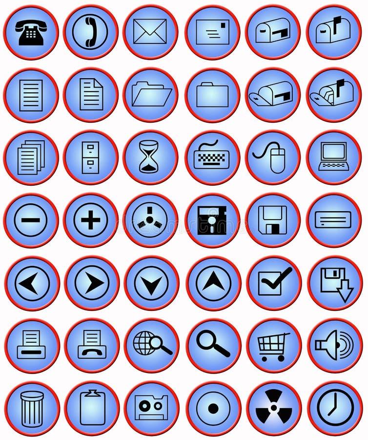 buttons datorkontoret stock illustrationer