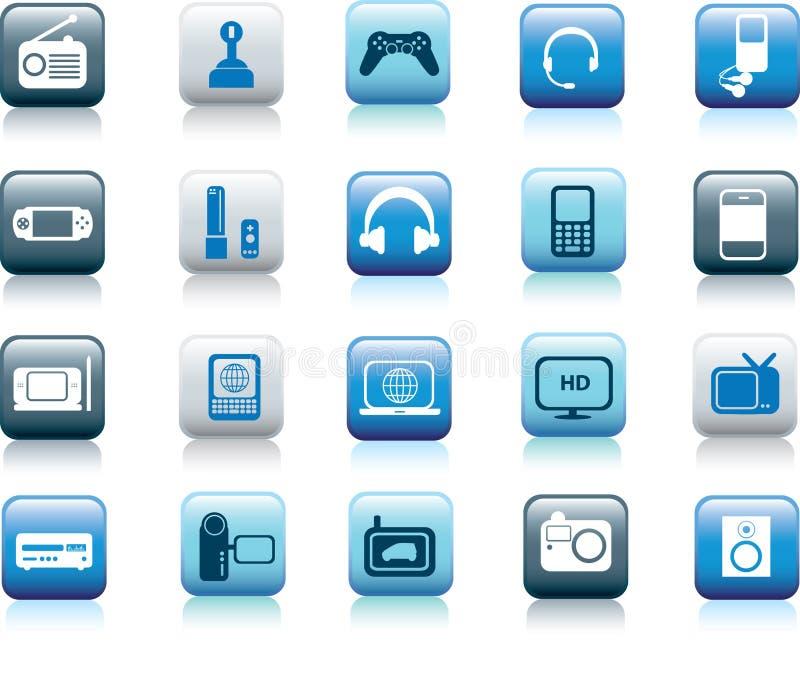 buttons den elektroniska symbolen royaltyfri illustrationer