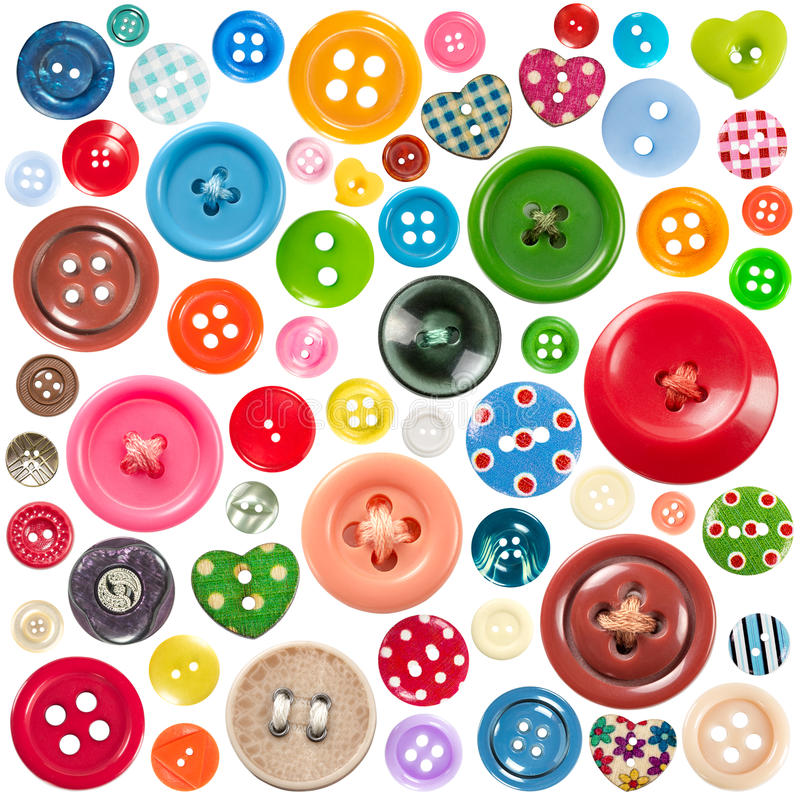 buttons den färgrika seten royaltyfri fotografi