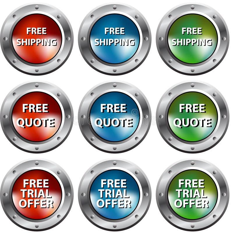 buttons den fria riveten för kromen stock illustrationer