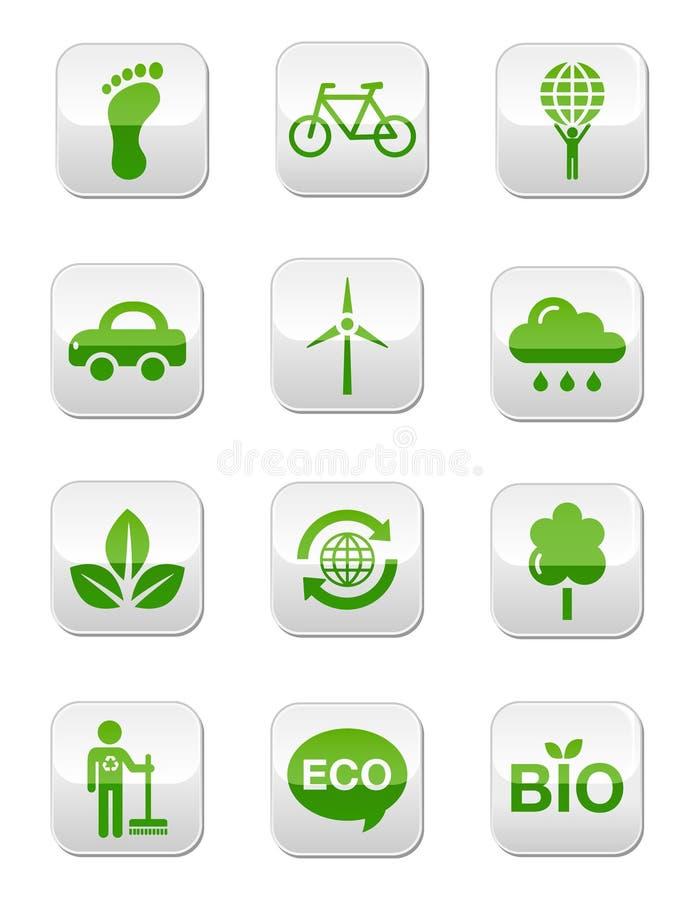 buttons den glansiga gröna set fyrkanten royaltyfri illustrationer