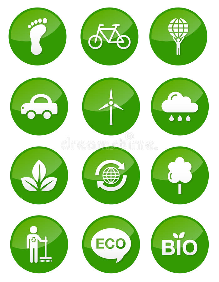 buttons den glansiga greenseten royaltyfri illustrationer