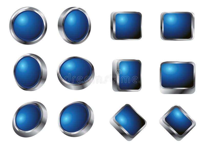buttons den glansiga vektorn stock illustrationer