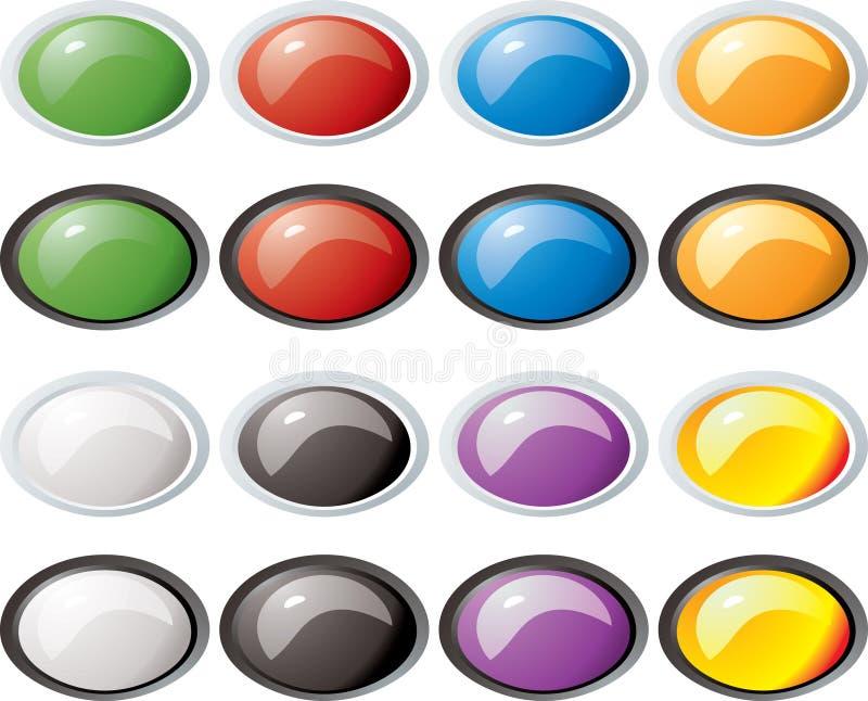 buttons den glass ovala kanten royaltyfri illustrationer