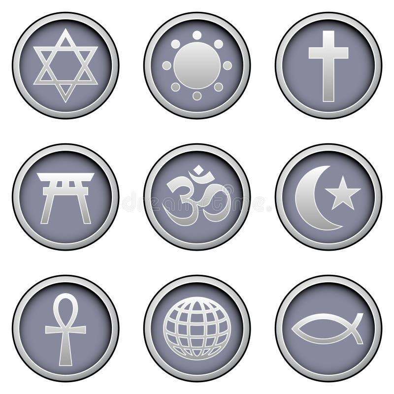 buttons den moderna religiösa vektorn för symboler royaltyfri illustrationer