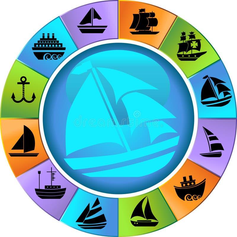 buttons det nautiska rengöringsdukhjulet stock illustrationer