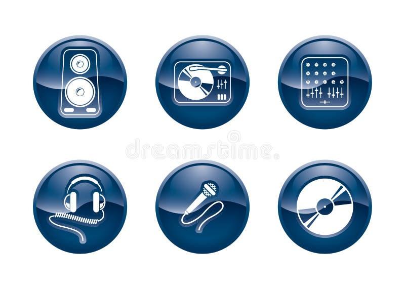 buttons dj-utrustning royaltyfri illustrationer